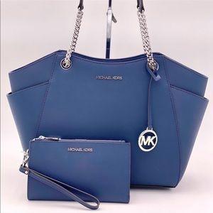 Michael Kors Shoulder Bag and Wallet Set Navy